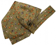 Krawattenschal - 100% Seide - Grün mit Landvögeln