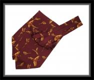 Krawattenschal - 100% Seide - Weinrot/fliegende Fasane