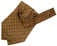 Krawattenschal - 100% Seide - Grün mit Moorhuhn