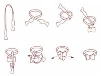 Schleife - Rot mit bläulich-gelbem Paisley - Selbstbinder
