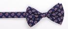 Schleife - Marineblau mit Paisleytropfen - vorgebunden