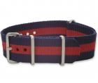 Textiles Uhrenarmband - Nato Strap - Marineblau/Rot