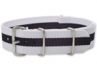 Textiles Uhrenarmband - Nato Strap - Weiß/Marineblau