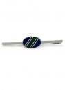Krawattenklammer - silberfarben blau/grün gestreift