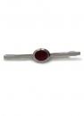 Krawattenklammer - silberfarben mit Halbedelstein Carneol