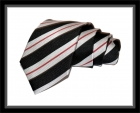 Krawatte - Clubstreifen - Schwarz/Silbergrau/Rot