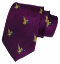 Krawatte mit Jagdmotiv - Lila/Ente im Flug