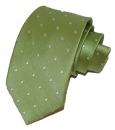 Krawatte - Weiße Punkte auf hellgrünem Grund
