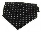 Krawattenschal - 100% Seide - weiße Punkte auf schwarzem Grund