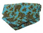 Krawattenschal - 100% Seide - Paisleymuster auf cyan Grund