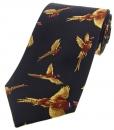 Krawatte mit Jagdmotiv - fliegende Fasane auf marineblauem Grund