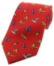Krawatte mit Jagdmotiv - Landvögel auf rotem Grund