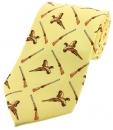 Krawatte mit Jagdmotiv - Fasane/Flinten auf gelbem Grund