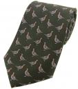 Krawatte mit Jagdmotiv - Rebhühner auf grünem Grund