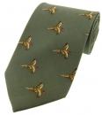 Krawatte mit Jagdmotiv - fliegende Fasane auf grünem Grund