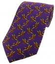 Krawatte mit Jagdmotiv - Fasanenpaar auf lila Grund
