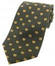 Krawatte mit Jagdmotiv - Fuchsköpfe auf grünem Grund