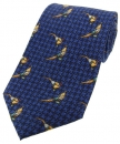 Krawatte mit Jagdmotiv - stehende Fasane auf Tweedmuster