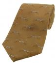 Krawatte mit Jagdmotiv - Schrotflinten auf hellbraunem Grund