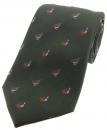 Krawatte mit Jagdmotiv - Moorhuhn und Rebhuhn auf grünem Grund