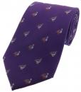Krawatte mit Jagdmotiv - Moorhuhn und Rebhuhn auf lila Grund