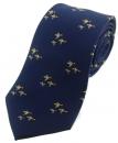 Krawatte mit Jagdmotiv - fliegende Enten auf marineblauem Grund