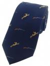 Krawatte mit Jagdmotiv - Hase/Schrotflinte auf marine Grund