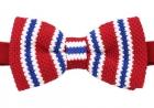 Strickschleife - Rot/Blau/Weiß - vorgebunden
