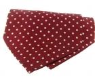 Krawattenschal - 100% Seide - weiße Punkte auf rotem Grund