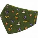 Einstecktuch - 100% Seide - Landvögel auf grünem Grund
