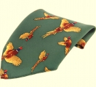 Einstecktuch - 100% Seide - fliegende Fasane auf grünem Grund