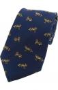 Krawatte mit Jagdmotiv - Fuchs auf blauem Grund