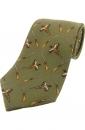Krawatte mit Jagdmotiv - Fasan und Flinte auf grünem Grund