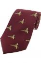 Krawatte mit Jagdmotiv - Fasane auf weinrotem Grund