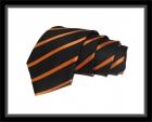 Krawatte - Clubstreifen - Schwarz/Orange
