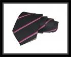 Krawatte - Clubstreifen - Schwarz/Pink/Silberweiß