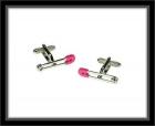 Manschettenknöpfe - Sicherheitsnadel Pink