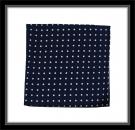 Einstecktuch - 100% Seide - Blau mit weißen Punkten