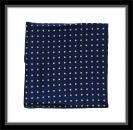 Einstecktuch - 100% Seide - Blau mit hellgelben Punkten