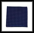 Einstecktuch - 100% Seide - Blau mit pinken Punkten