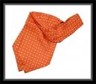 Krawattenschal - 100% Seide - Orange mit weißen Punkten