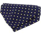 Krawattenschal - 100% Seide - Gelbe Punkte auf marine Grund