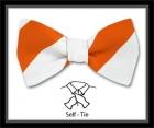 Schleife - Clubstreifen - Orange/Weiß - Selbstbinder