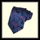Krawatte - Marine/großes Paisleymuster/purple