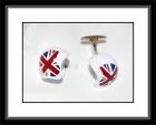 Manschettenknöpfe - Helm/weiß mit Union Jack-Muster