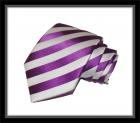 Krawatte - Clubstreifen - Violett/Weiß