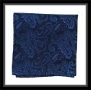 Einstecktuch - 100% Seide - Marineblau/blaues Paisleymuster